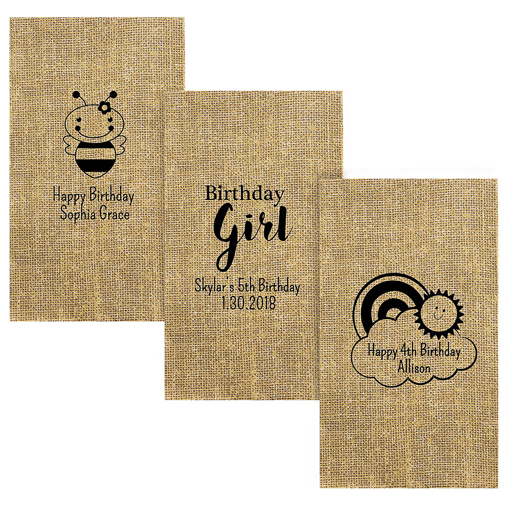 Personalized Girls Birthday Burlap Print Guest Towels Image #1