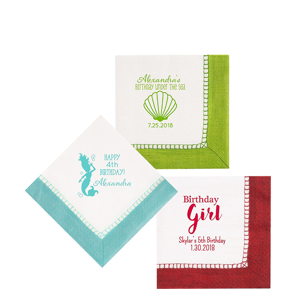 Personalized Girls Birthday Bordered Beverage Napkins Image #1