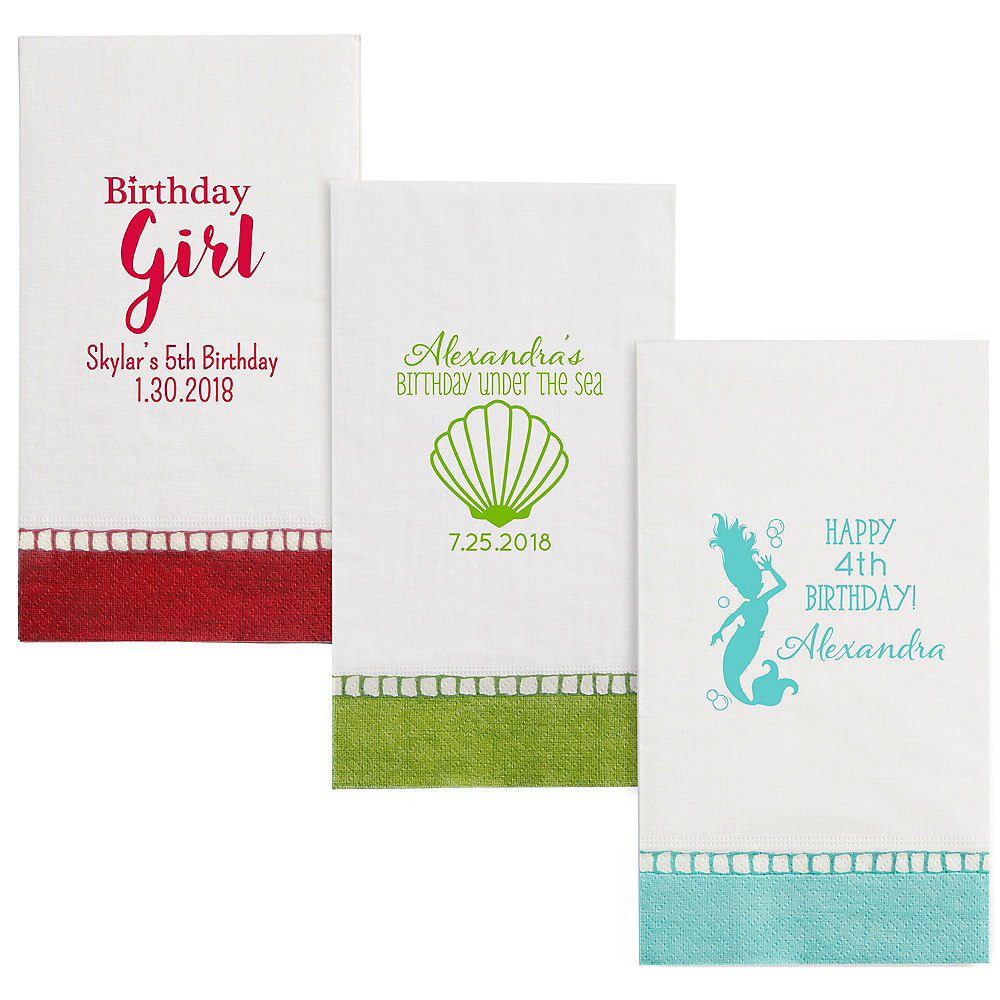 Personalized Girls Birthday Bordered Guest Towels Image #1