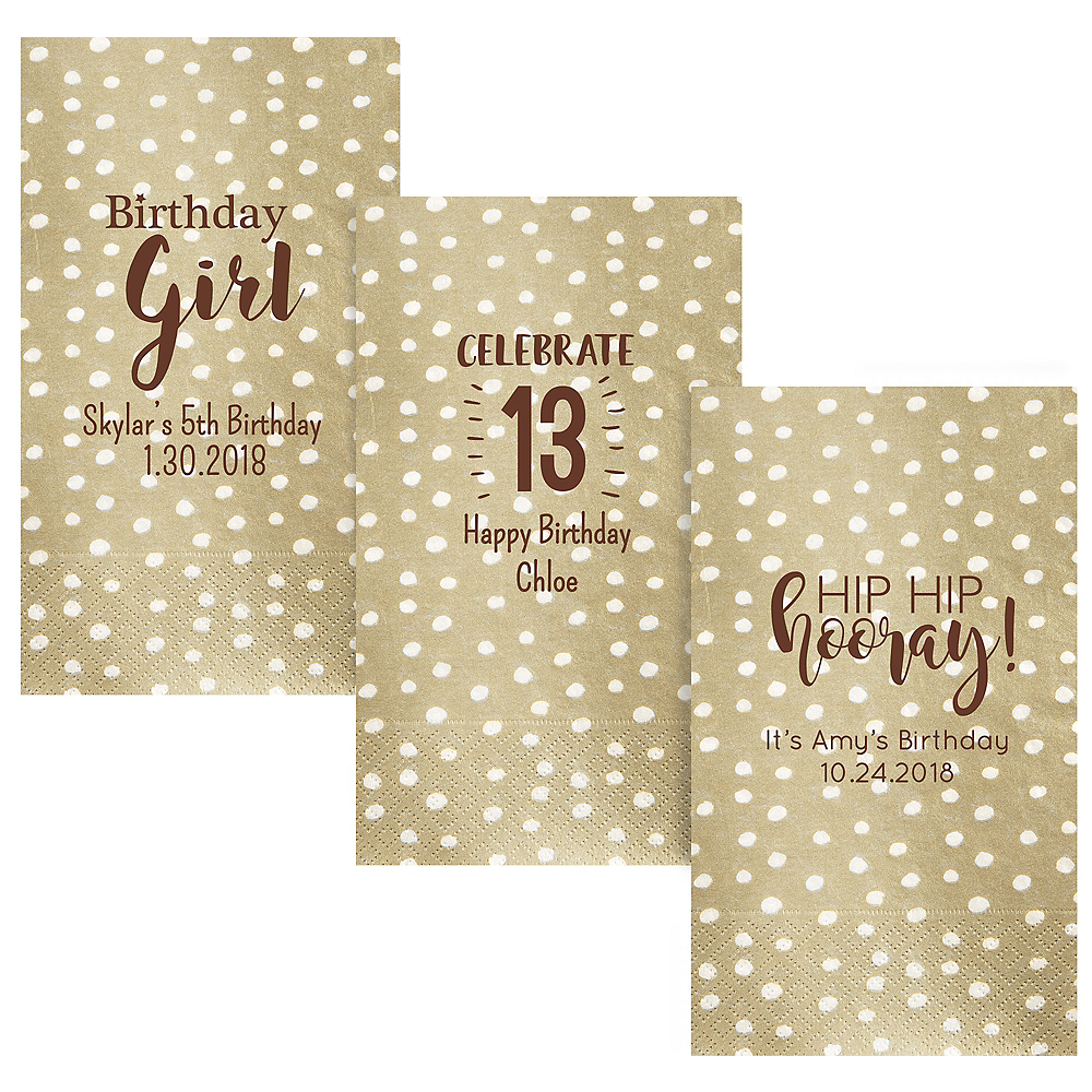 Personalized Girls Birthday Small Dots Guest Towels Image #1