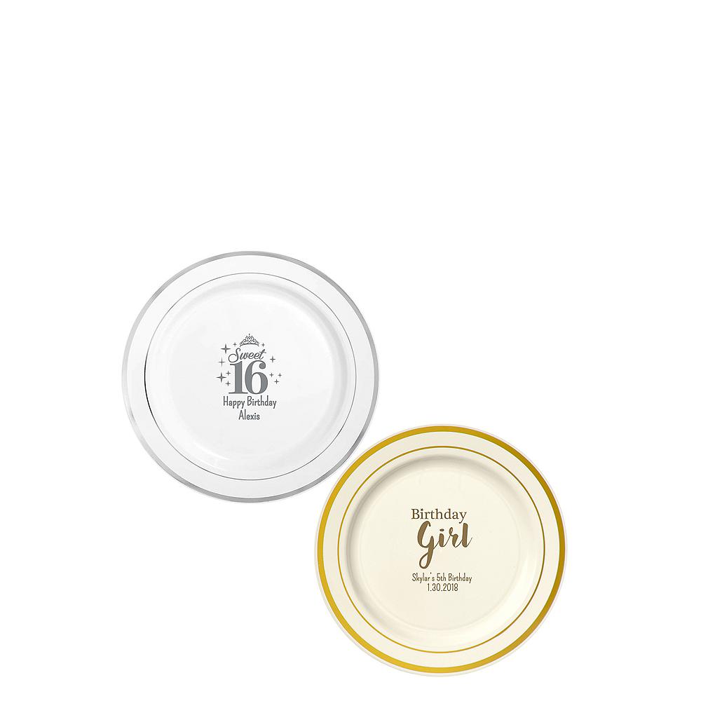 Personalized Girls Birthday Trimmed Premium Plastic Dessert Plates Image #1