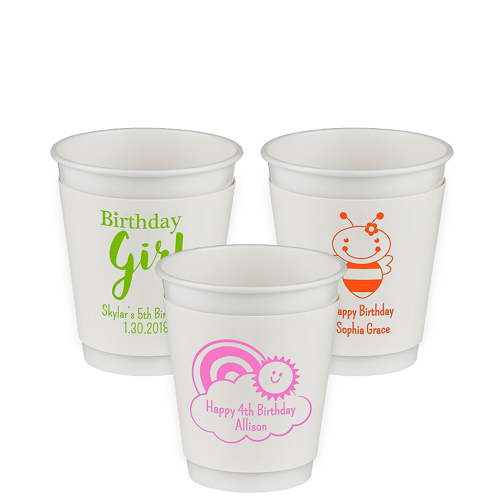Personalized Girls Birthday Insulated Paper Cups 12oz Image #1