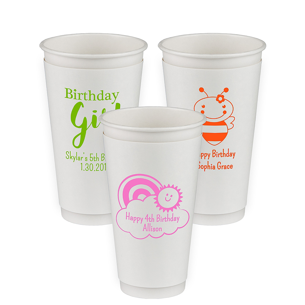 Personalized Girls Birthday Insulated Paper Cups 20oz Image #1
