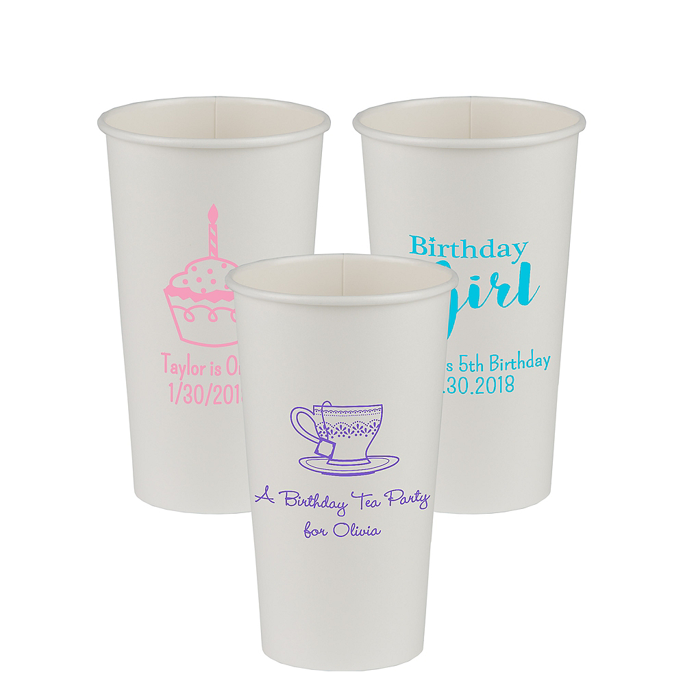 Personalized Girls Birthday Paper Cups 20oz Image #1