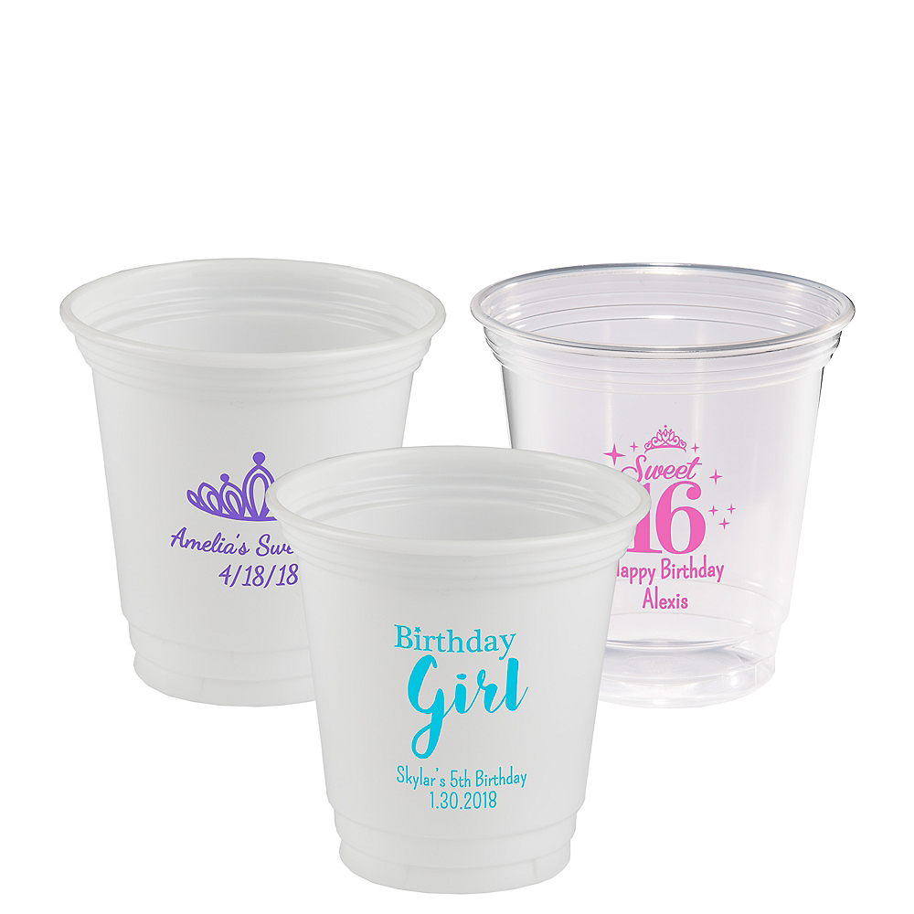 Personalized Girls Birthday Plastic Party Cups 12oz Image #1