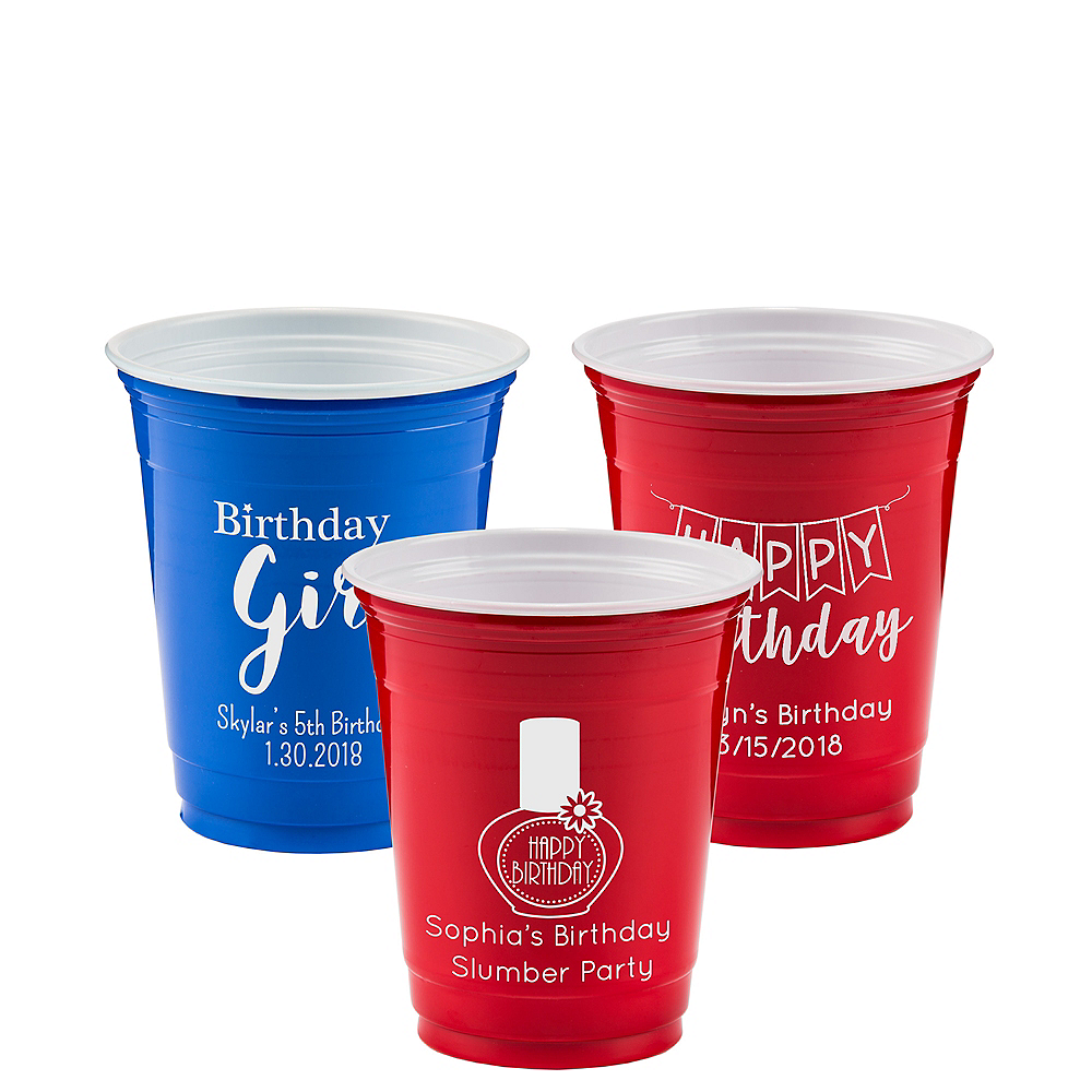 Personalized Girls Birthday Solid Color Plastic Party Cups 12oz Image #1