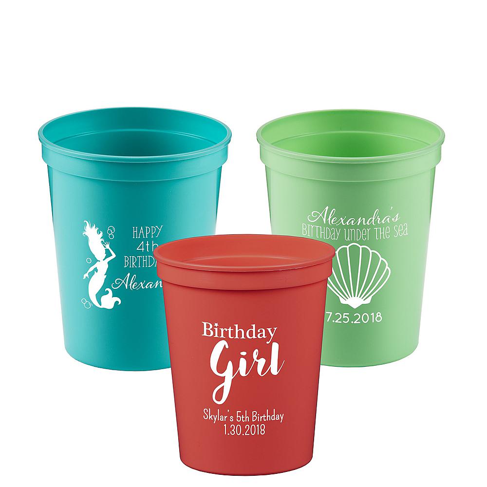 Personalized Girls Birthday Plastic Stadium Cups 16oz Image #1