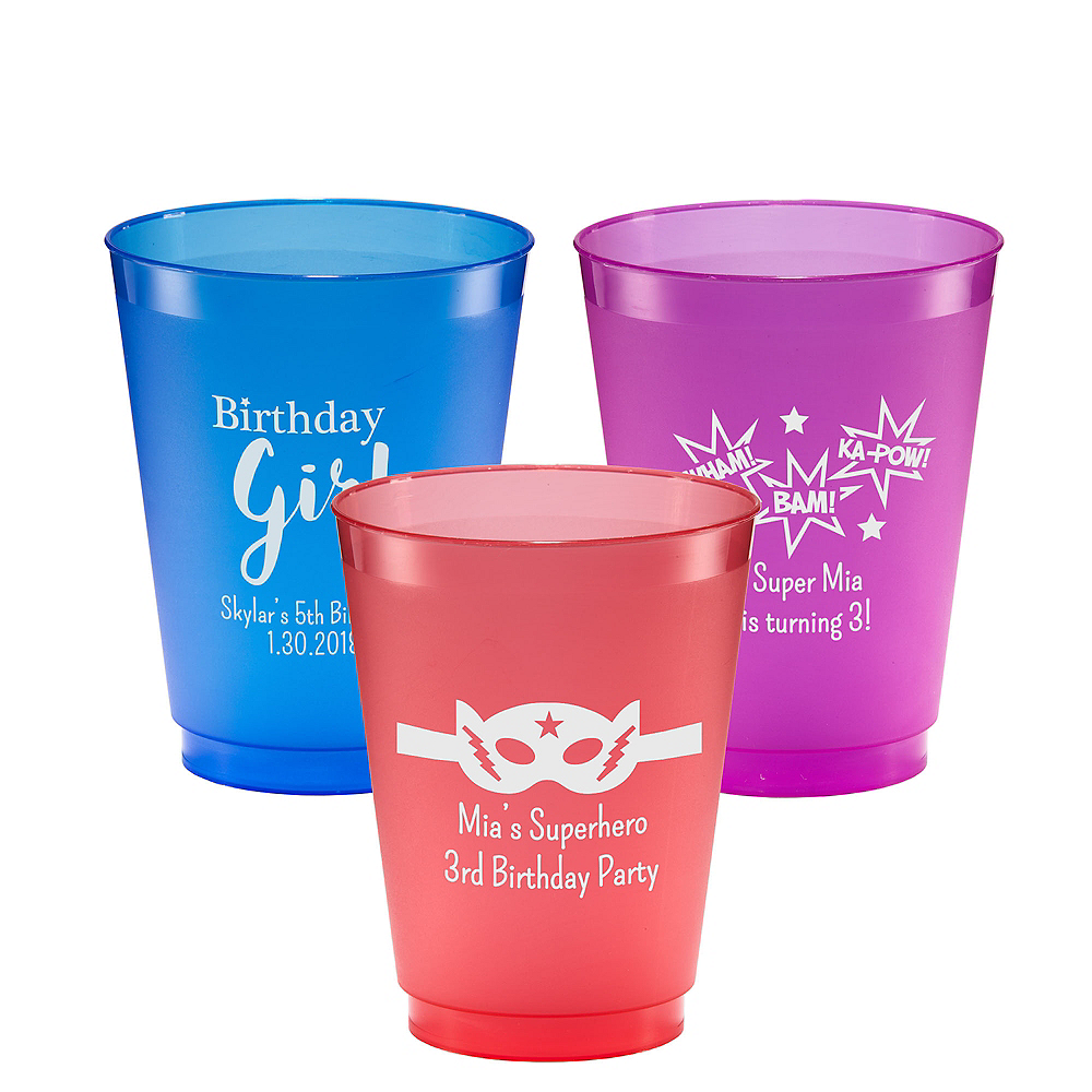 Personalized Girls Birthday Plastic Shatterproof Cups 16oz Image #1
