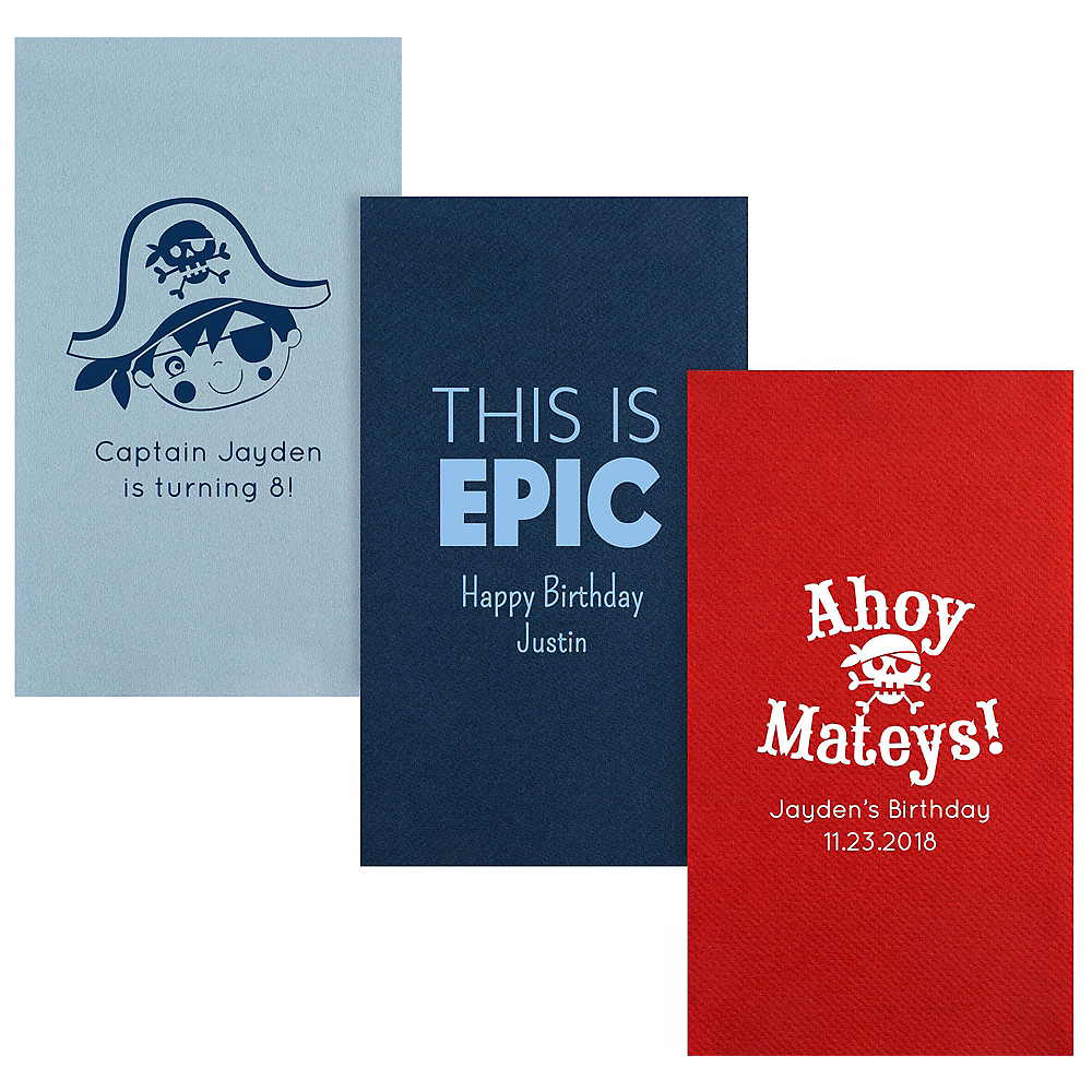 Personalized Boys Birthday Premium Guest Towels Image #1