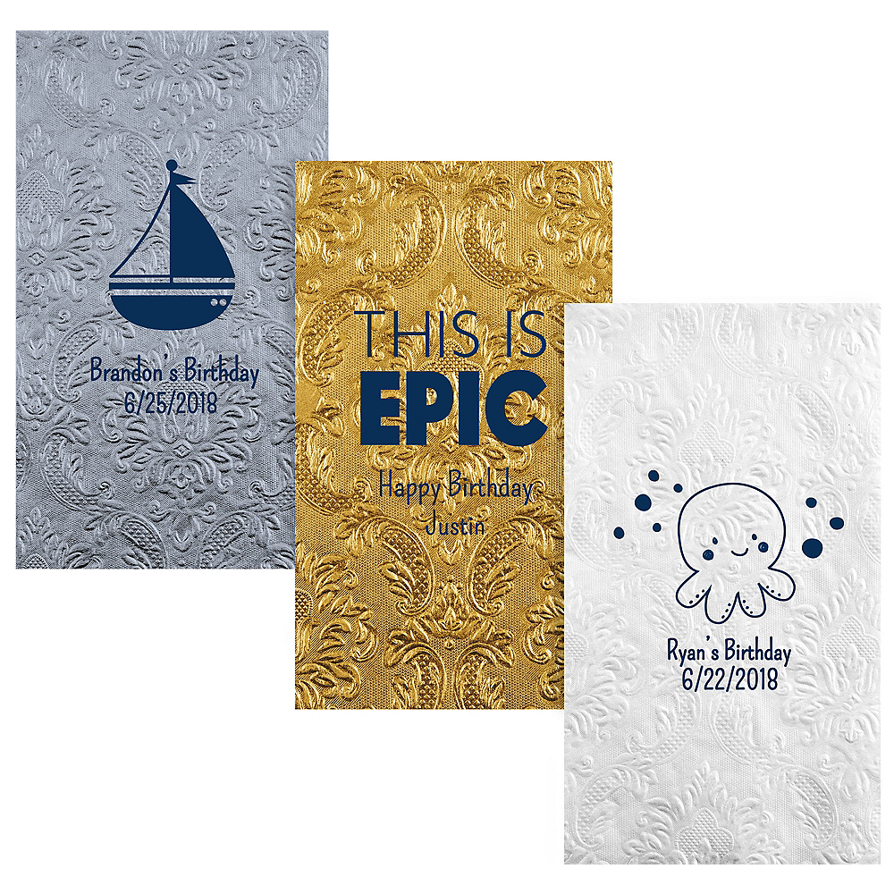 Personalized Boys Birthday Embossed Damask Guest Towels Image #1