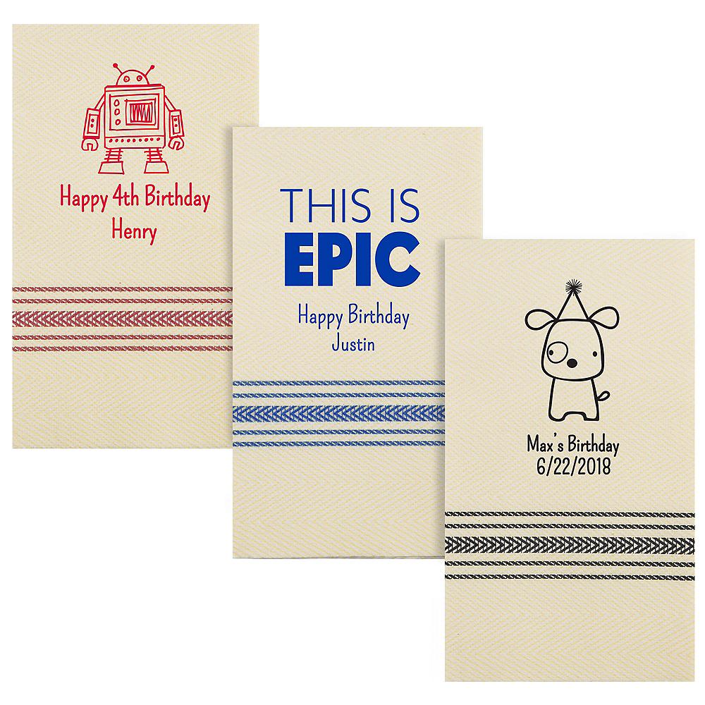 Personalized Boys Birthday Herringbone Guest Towels Image #1