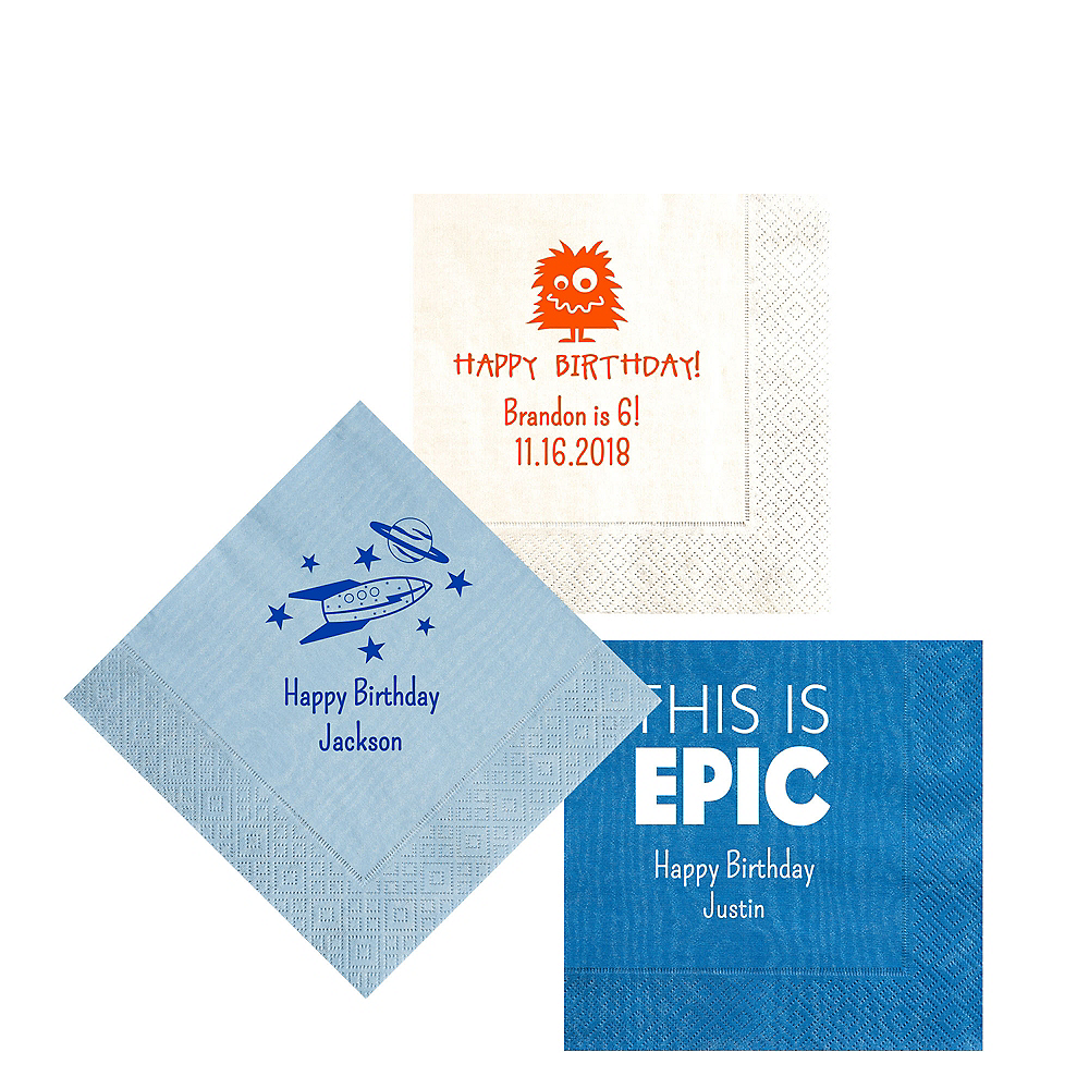 Personalized Boys Birthday Moire Beverage Napkins Image #1