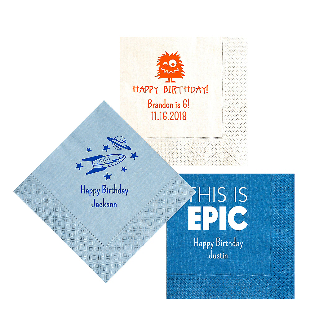 Nav Item for Personalized Boys Birthday Moire Lunch Napkins Image #1