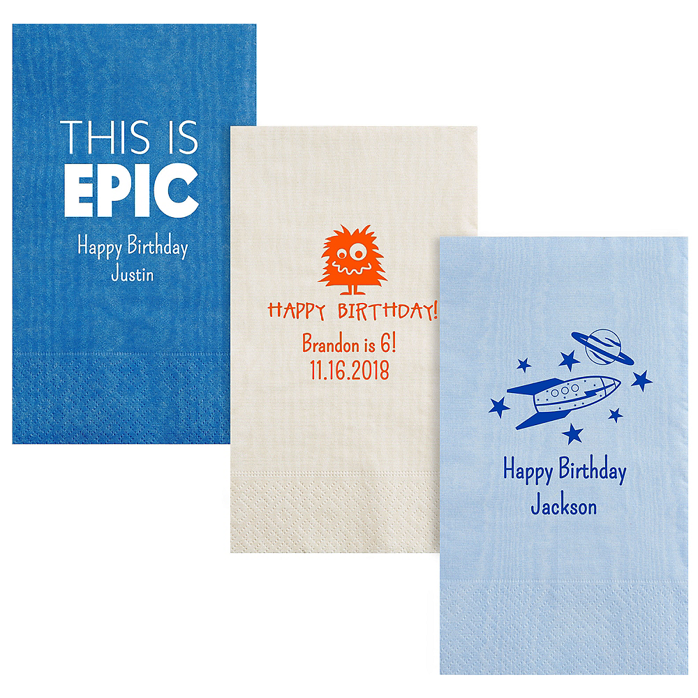 Personalized Boys Birthday Moire Guest Towels Image #1