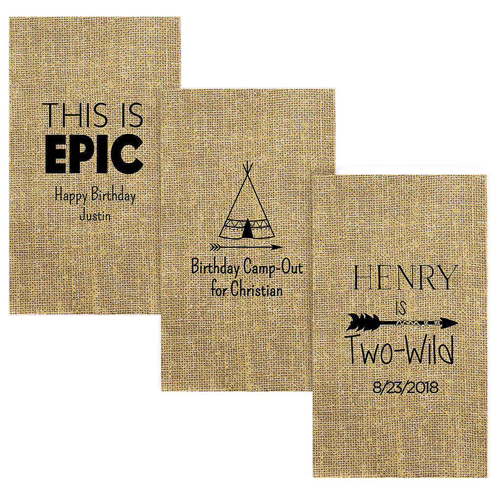 Personalized Boys Birthday Burlap Print Guest Towels Image #1