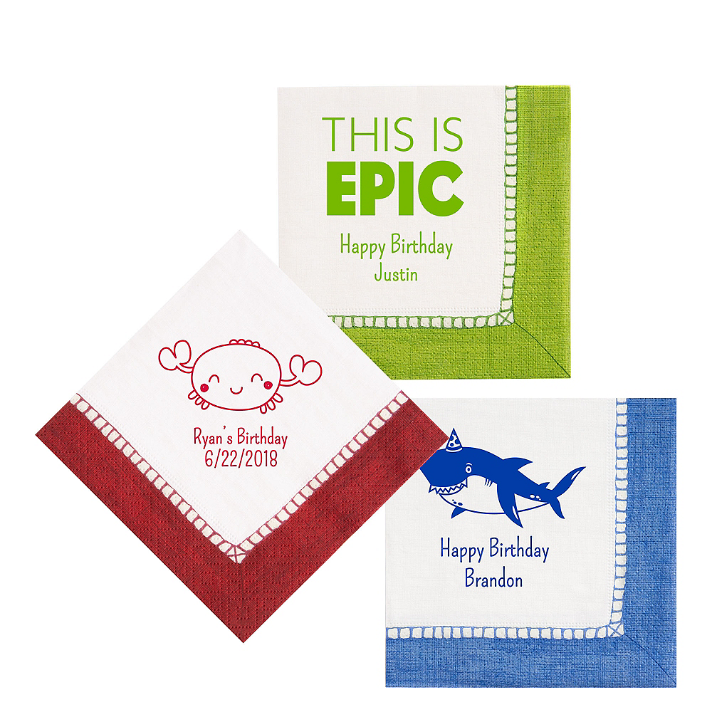 Personalized Boys Birthday Bordered Lunch Napkins Image #1