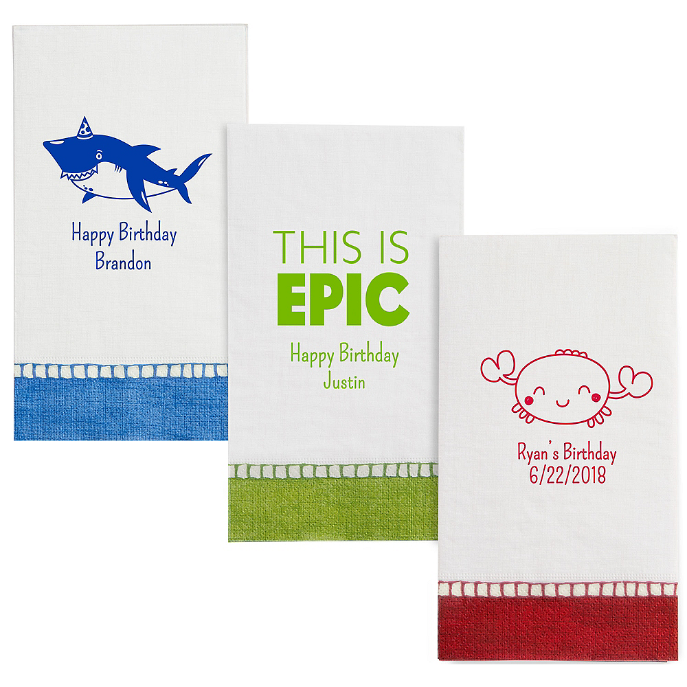 Personalized Boys Birthday Bordered Guest Towels Image #1