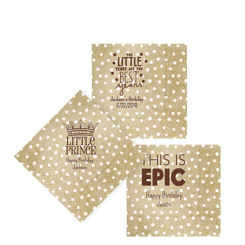 Personalized Boys Birthday Small Dots Beverage Napkins Image #1