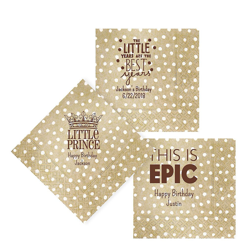 Personalized Boys Birthday Small Dots Lunch Napkins Image #1