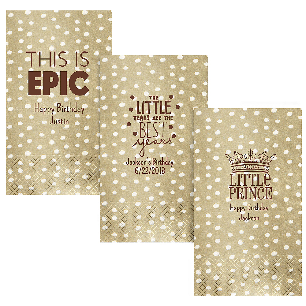 Personalized Boys Birthday Small Dots Guest Towels Image #1