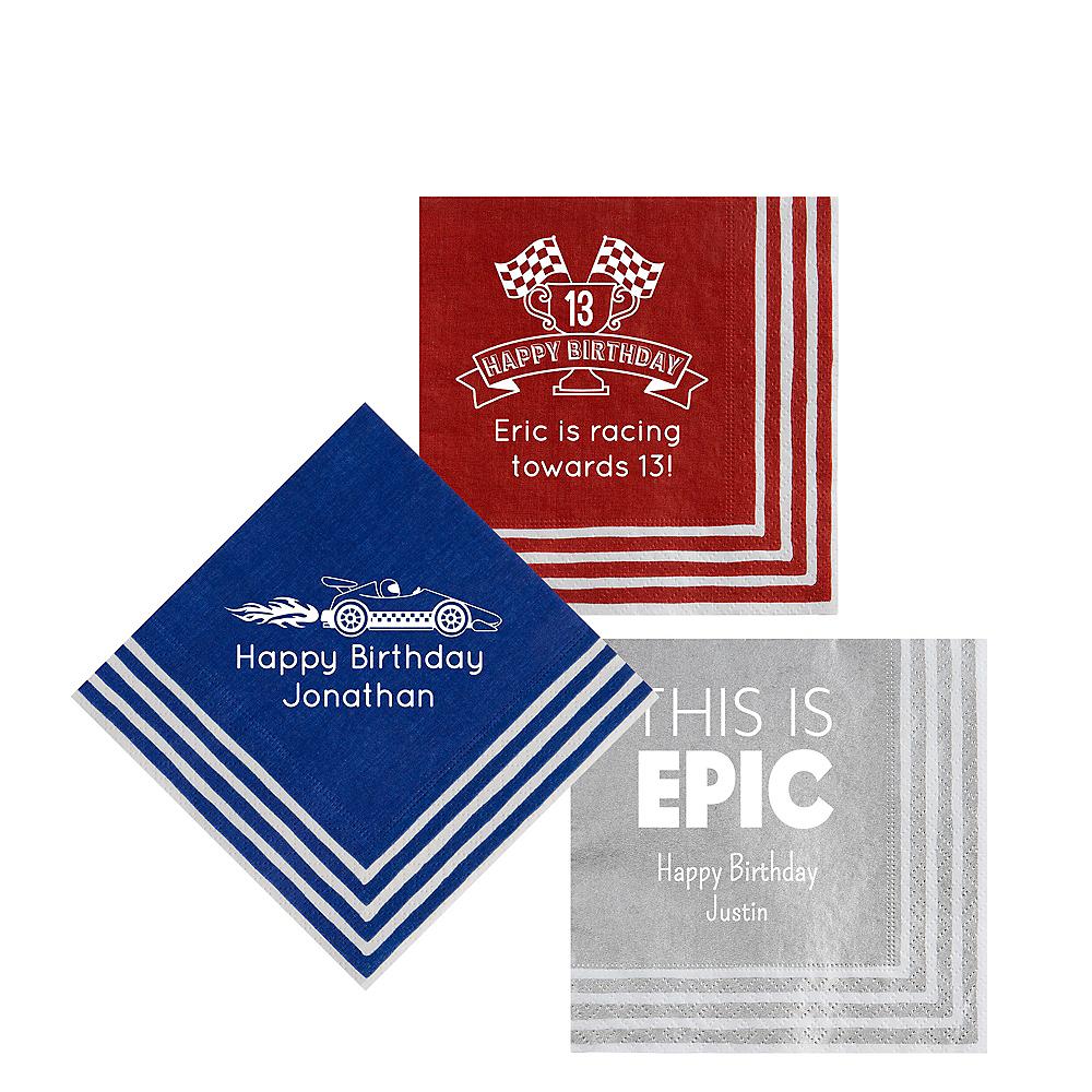 Personalized Boys Birthday Stripe Border Beverage Napkins Image #1