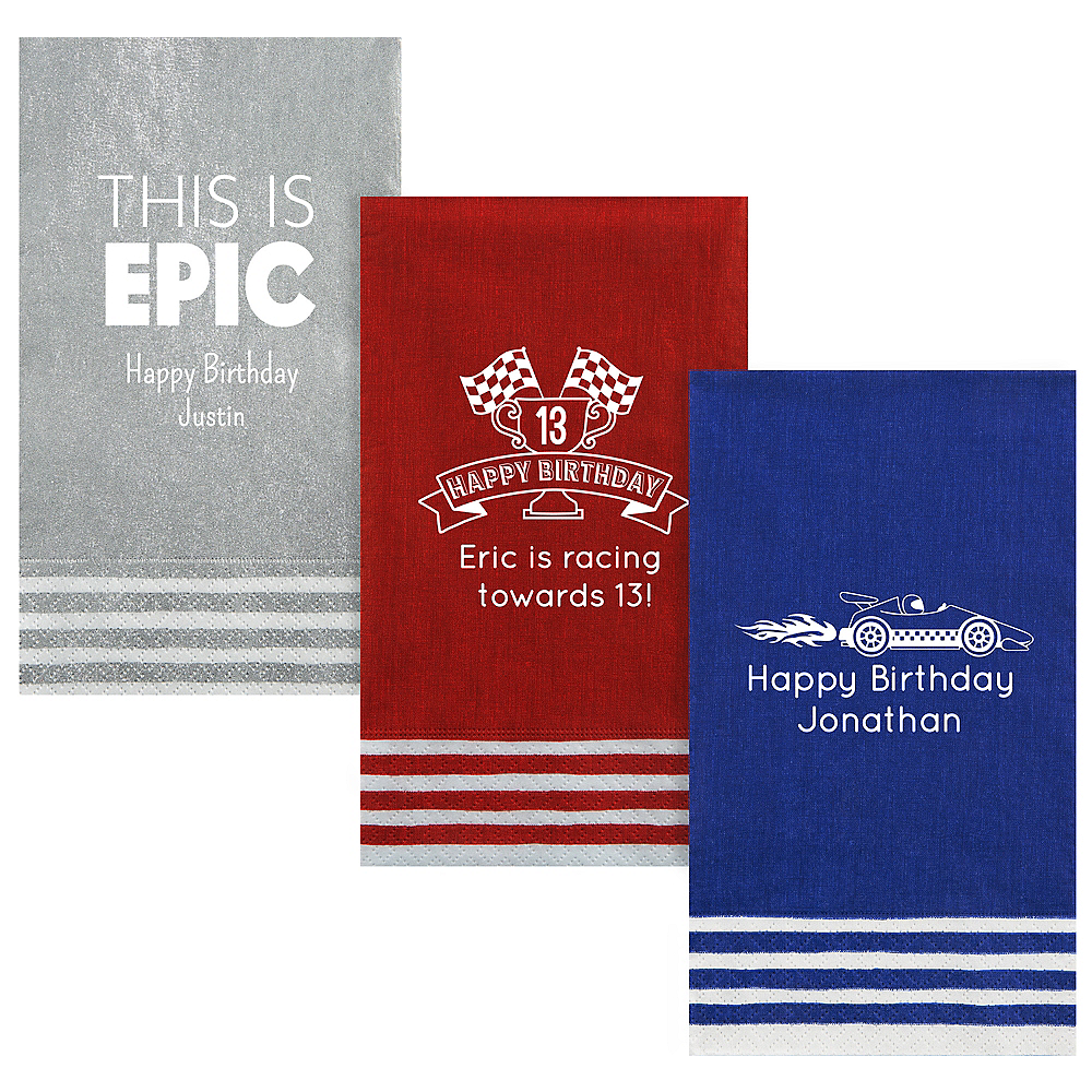 Personalized Boys Birthday Stripe Border Guest Towels Image #1