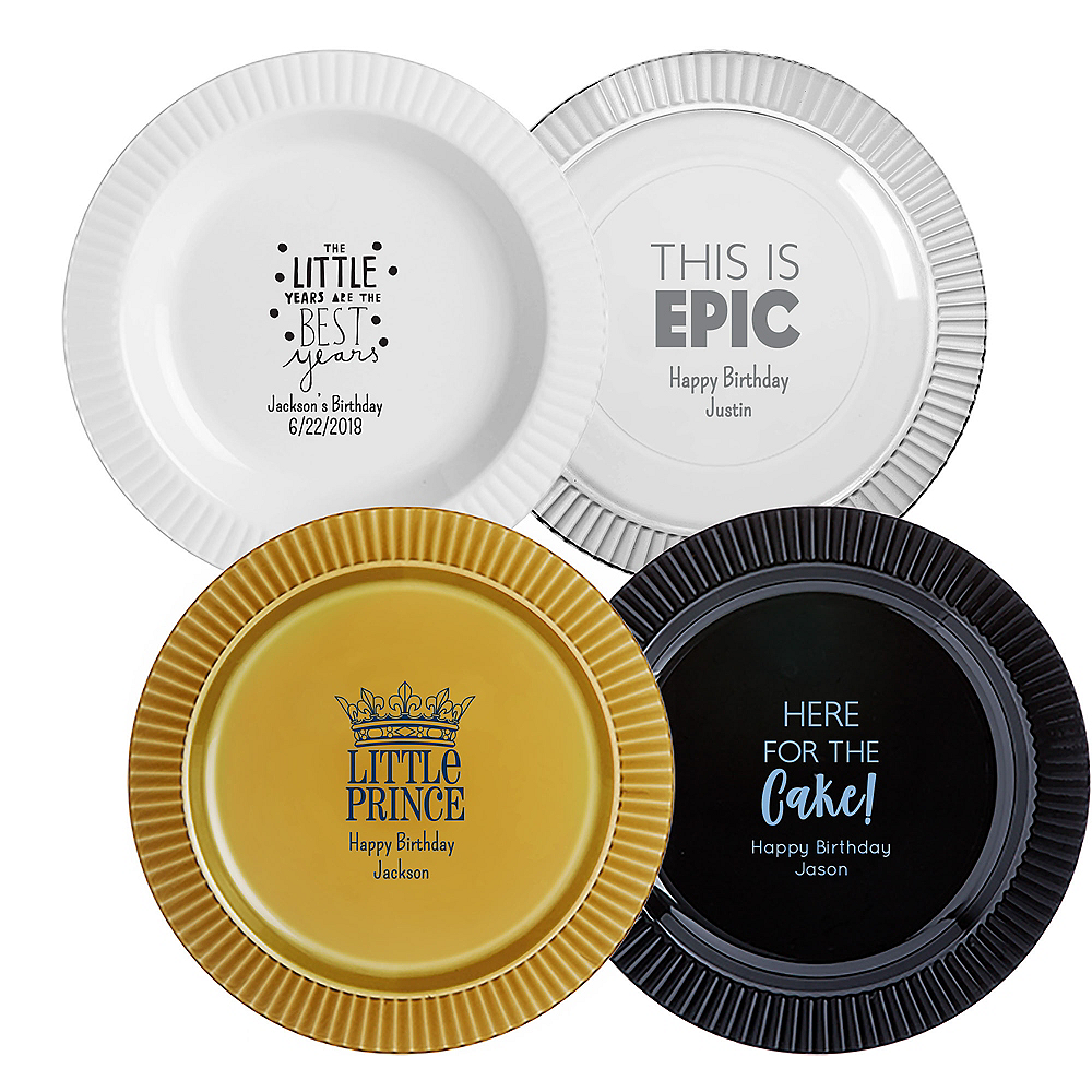 Personalized Boys Birthday Premium Plastic Dinner Plates Image #1