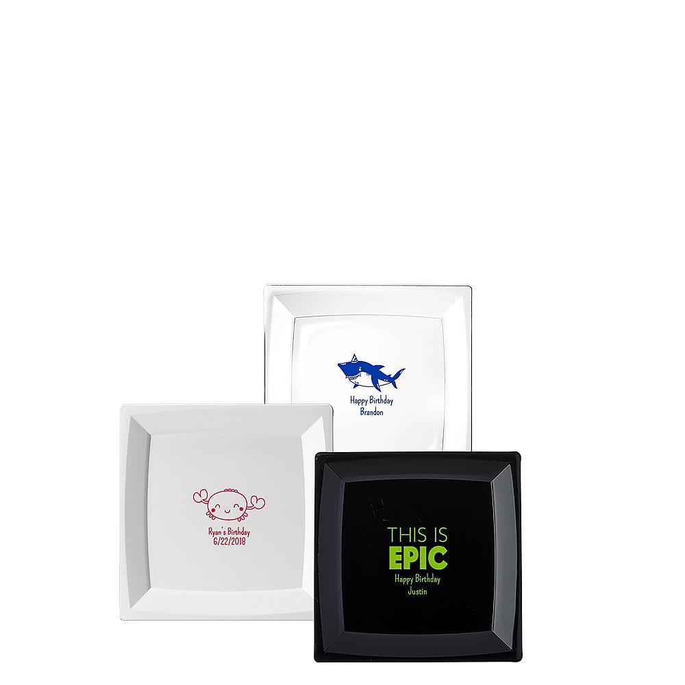 Personalized Boys Birthday Premium Plastic Square Appetizer Plates Image #1