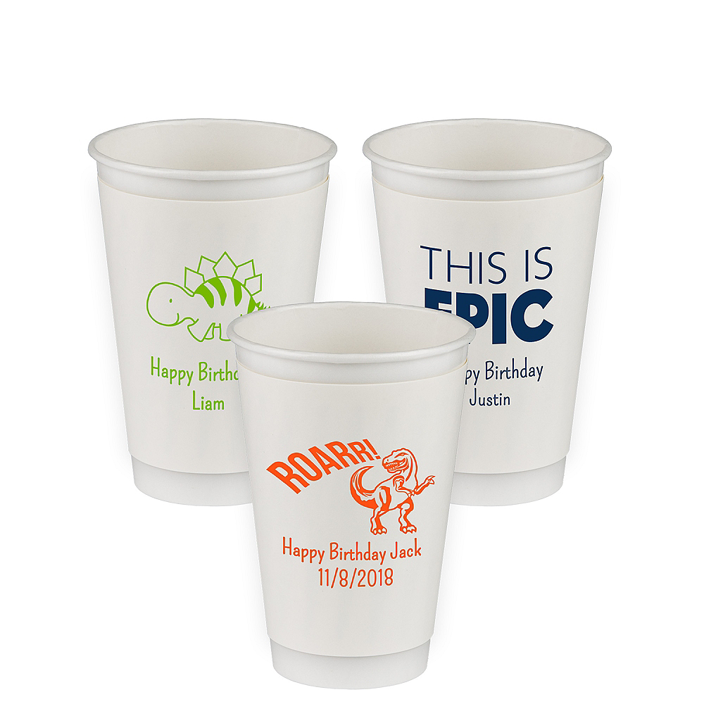 Personalized Boys Birthday Insulated Paper Cups 16oz Image #1