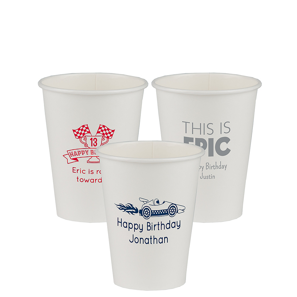 Personalized Boys Birthday Paper Cups 12oz Image #1