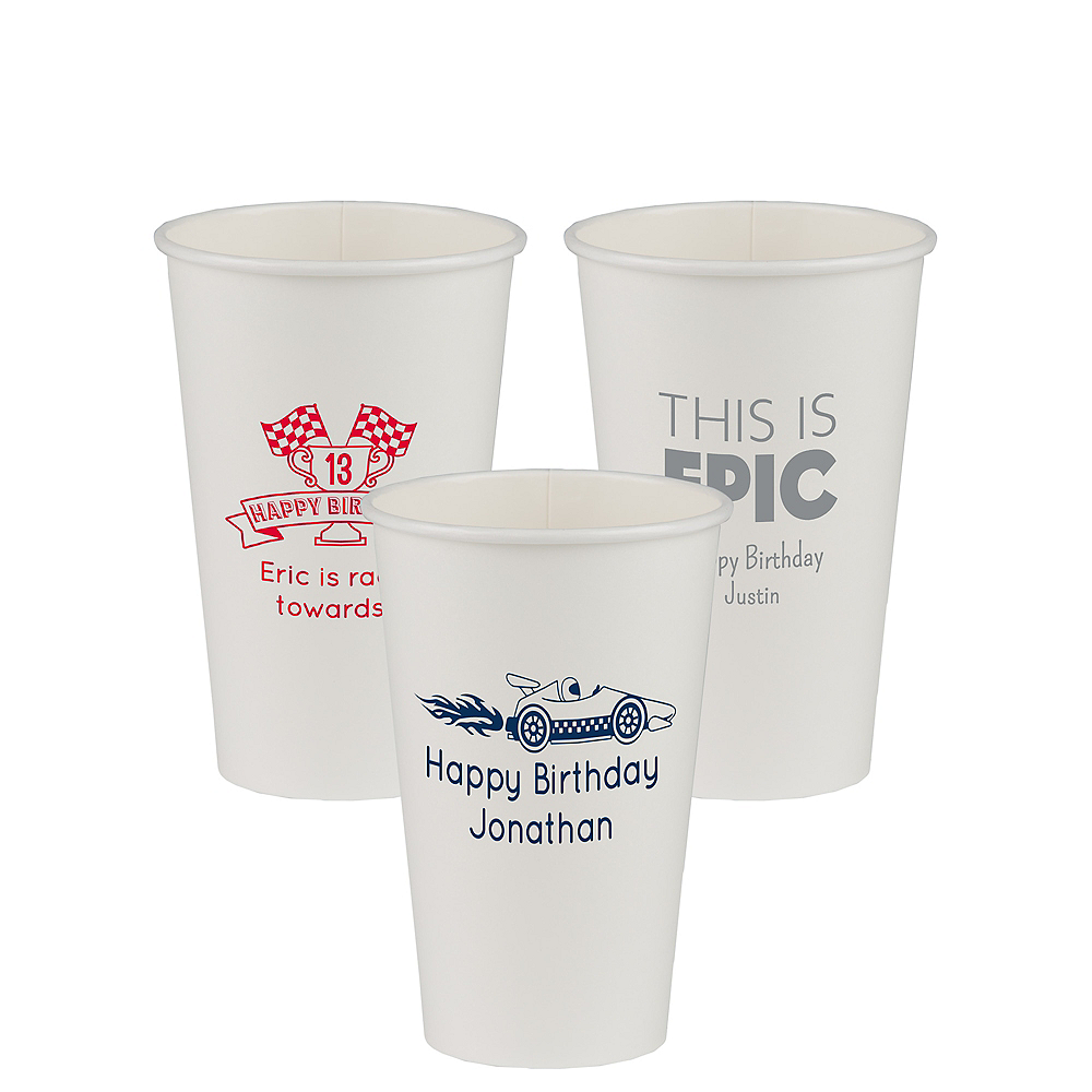Personalized Boys Birthday Paper Cups 16oz Image #1