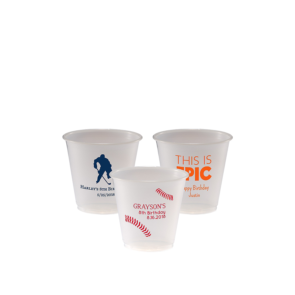 Personalized Boys Birthday Plastic Party Cups 3.5oz Image #1