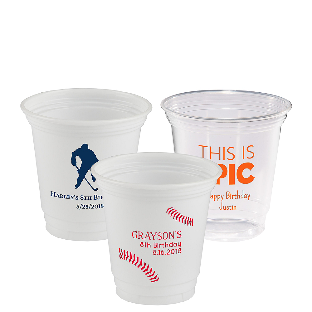 Personalized Boys Birthday Plastic Party Cups 12oz Image #1