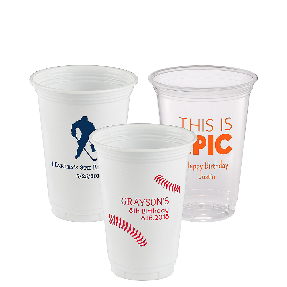 Personalized Boys Birthday Plastic Party Cups 16oz Image #1