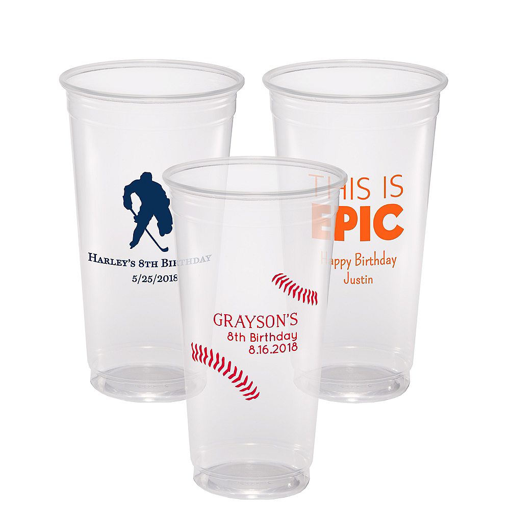 Personalized Boys Birthday Plastic Party Cups 24oz Image #1
