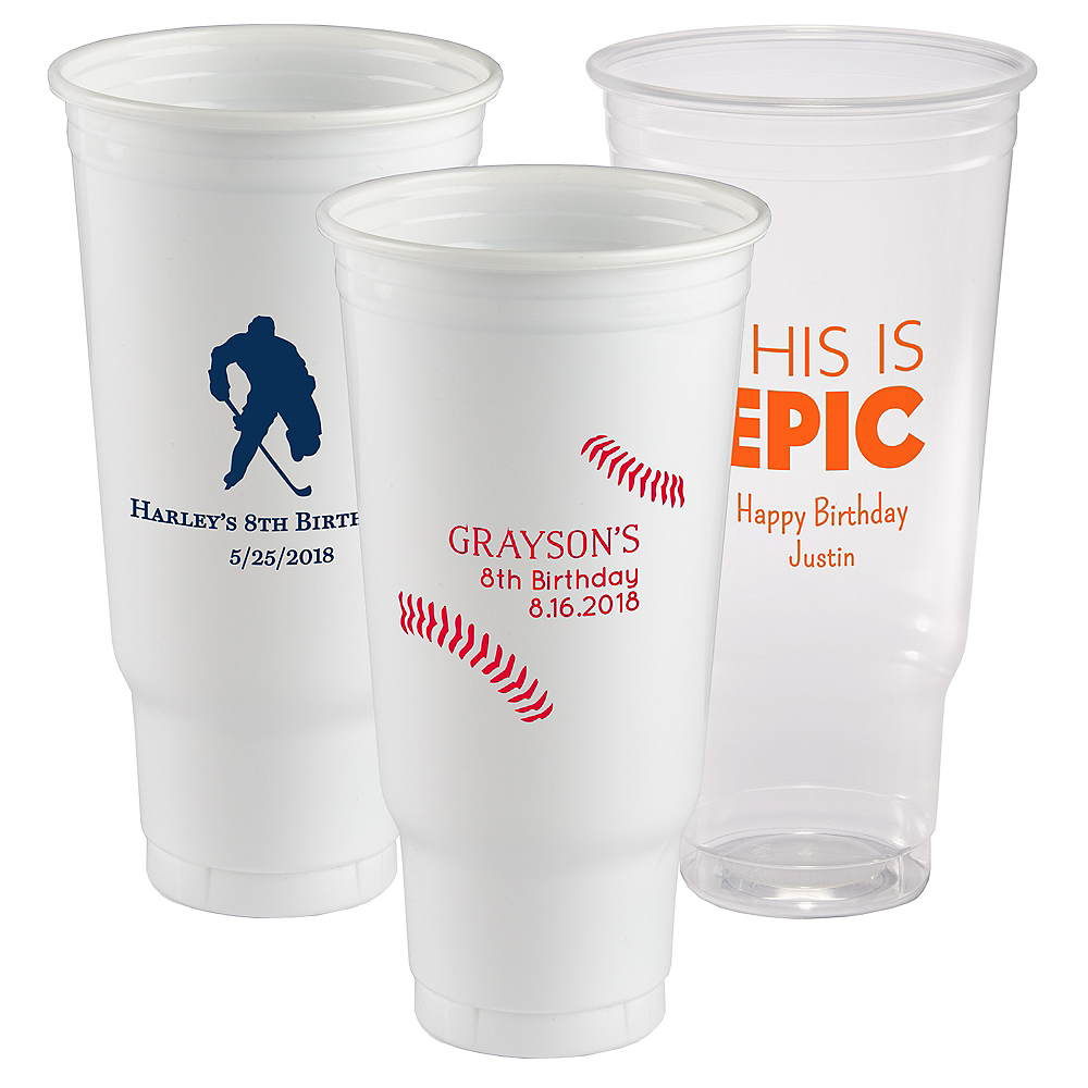 Personalized Boys Birthday Plastic Party Cups 44oz Image #1