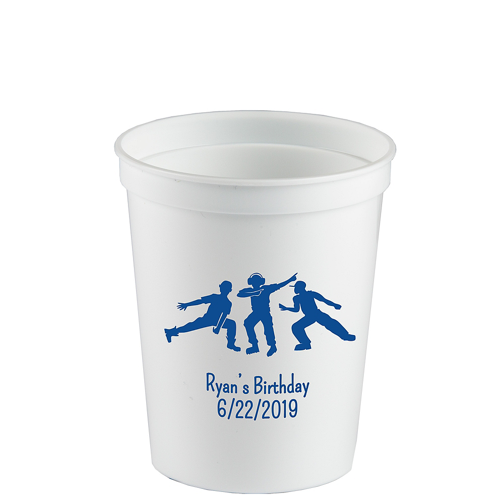 Personalized Boys Birthday Plastic Stadium Cups 12oz Image #1