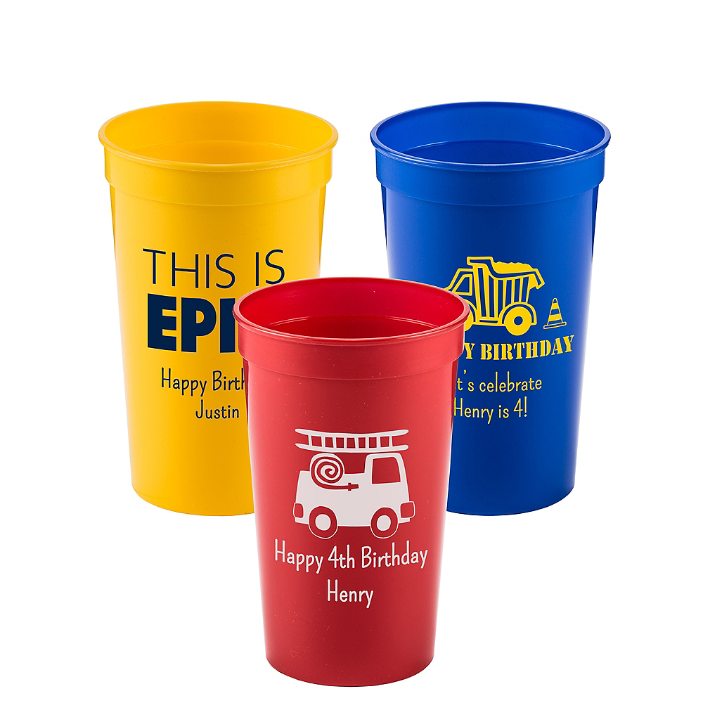 Personalized Boys Birthday Plastic Stadium Cups 22oz Image #1