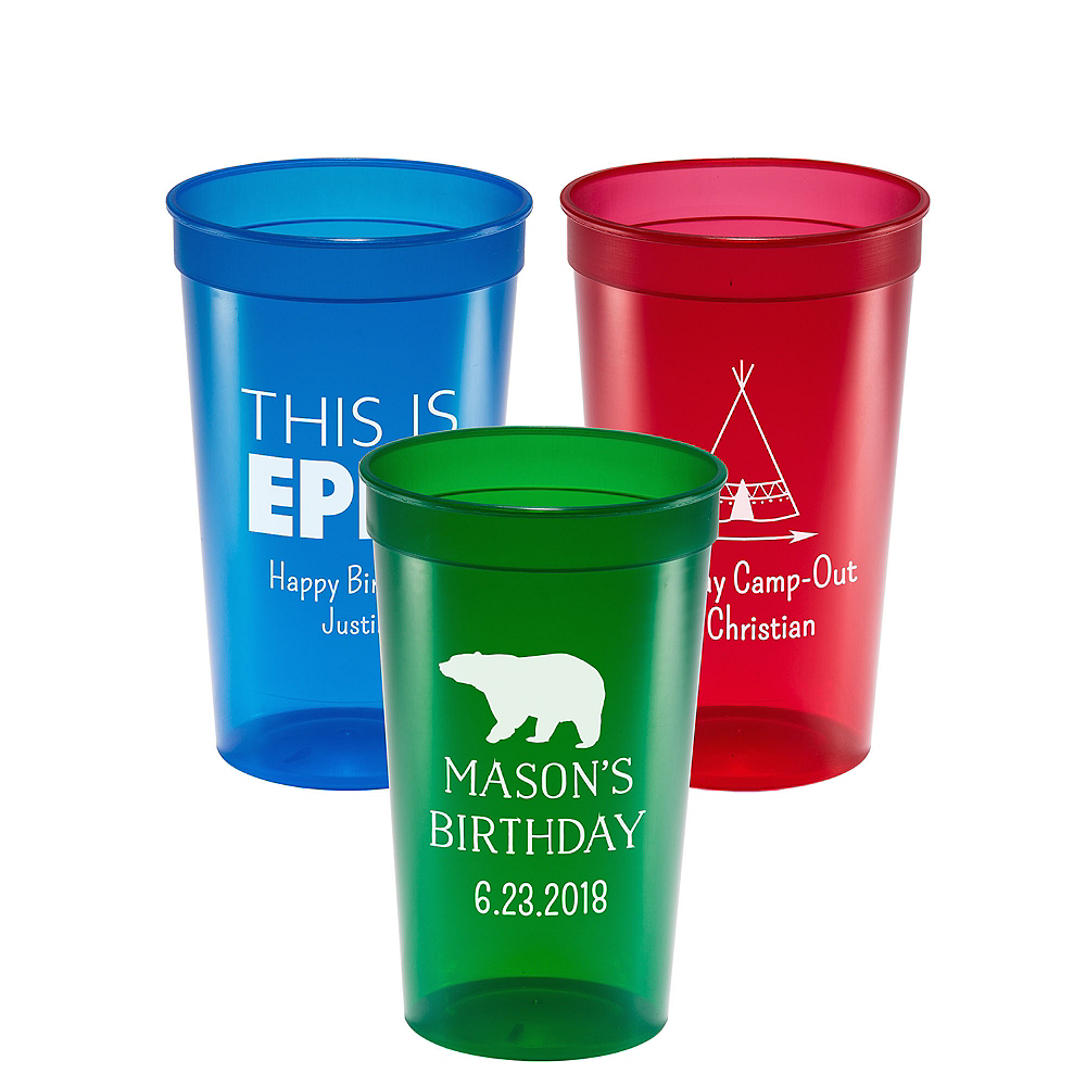 Personalized Boys Birthday Translucent Plastic Stadium Cups 22oz Image #1