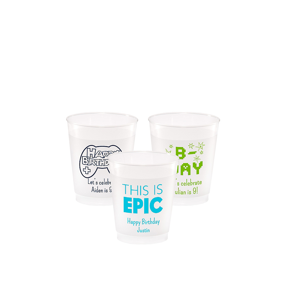 Personalized Boys Birthday Frosted Plastic Shatterproof Cups 5oz Image #1
