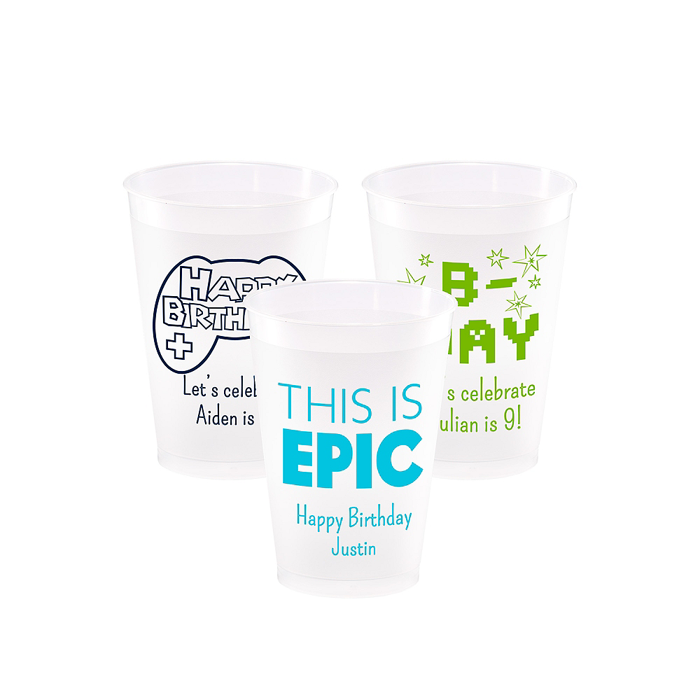 Personalized Boys Birthday Frosted Plastic Shatterproof Cups 12oz Image #1