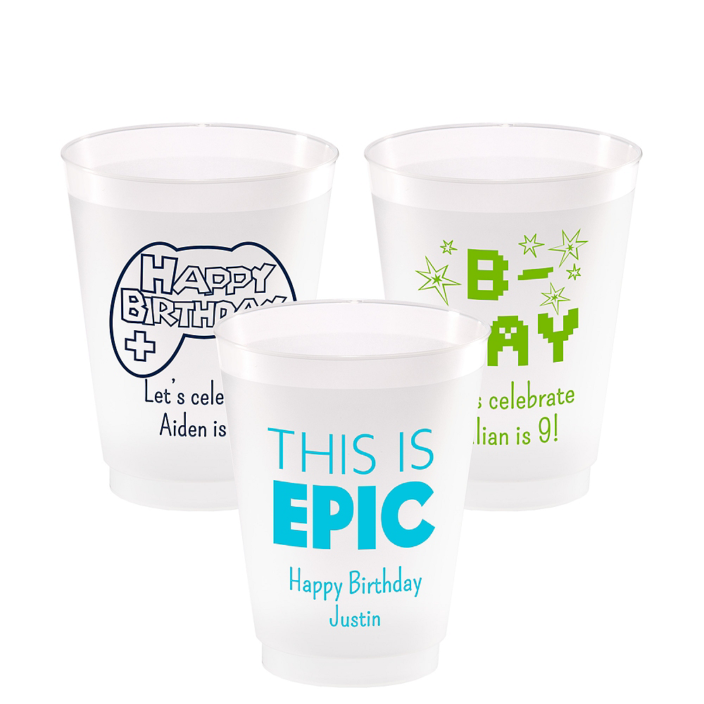 Personalized Boys Birthday Frosted Plastic Shatterproof Cups 16oz Image #1