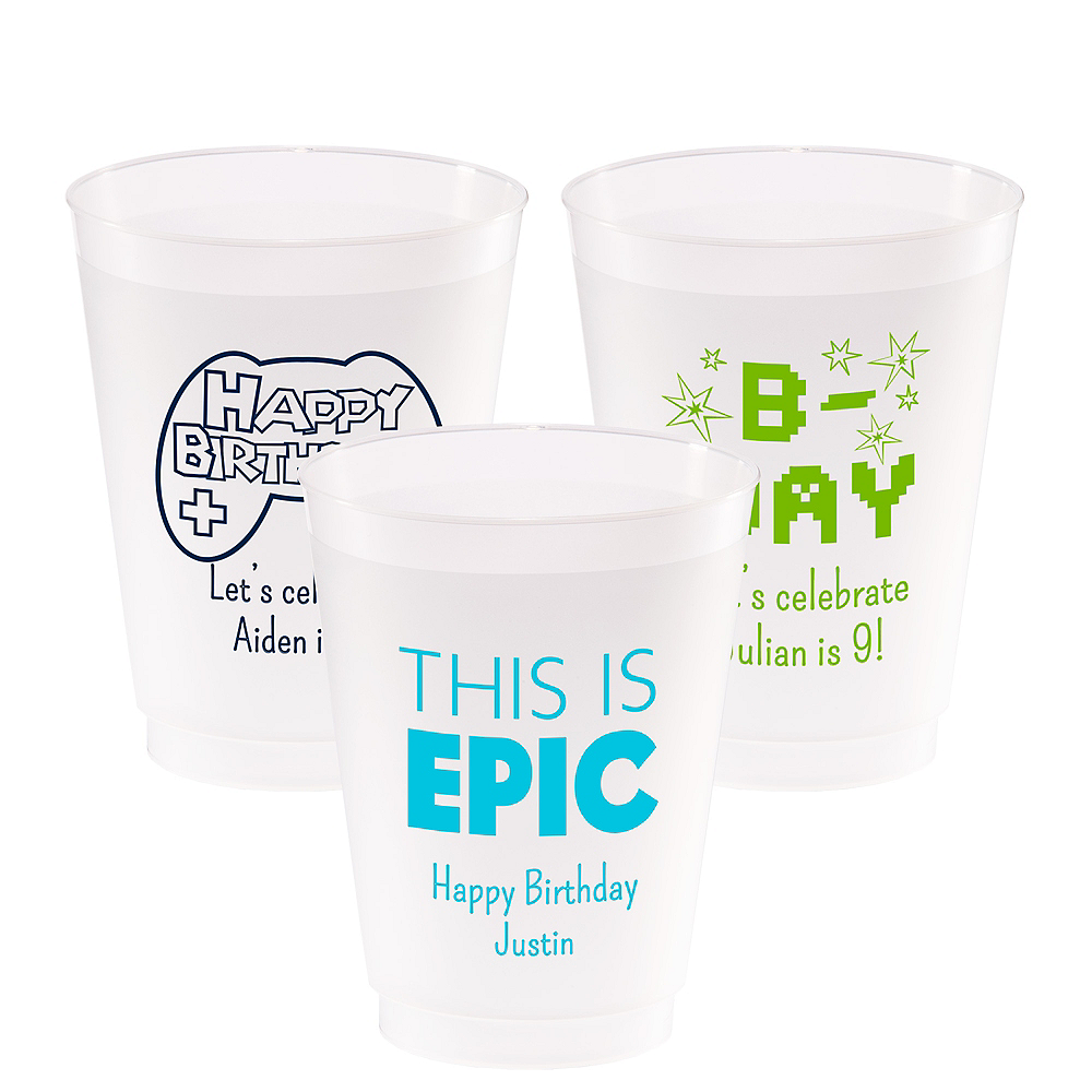 Personalized Boys Birthday Frosted Plastic Shatterproof Cups 20oz Image #1
