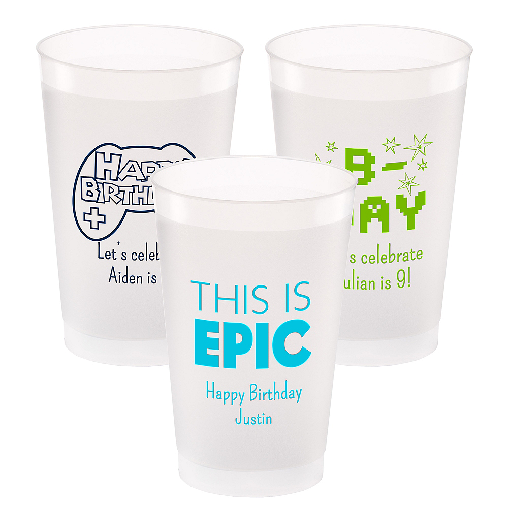 Personalized Boys Birthday Frosted Plastic Shatterproof Cups 24oz Image #1