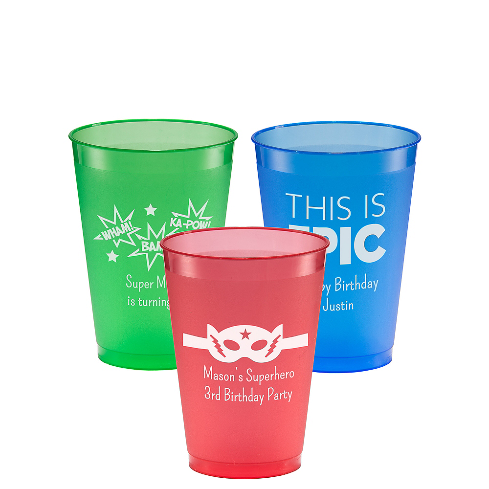 Personalized Boys Birthday Plastic Shatterproof Cups 12oz Image #1
