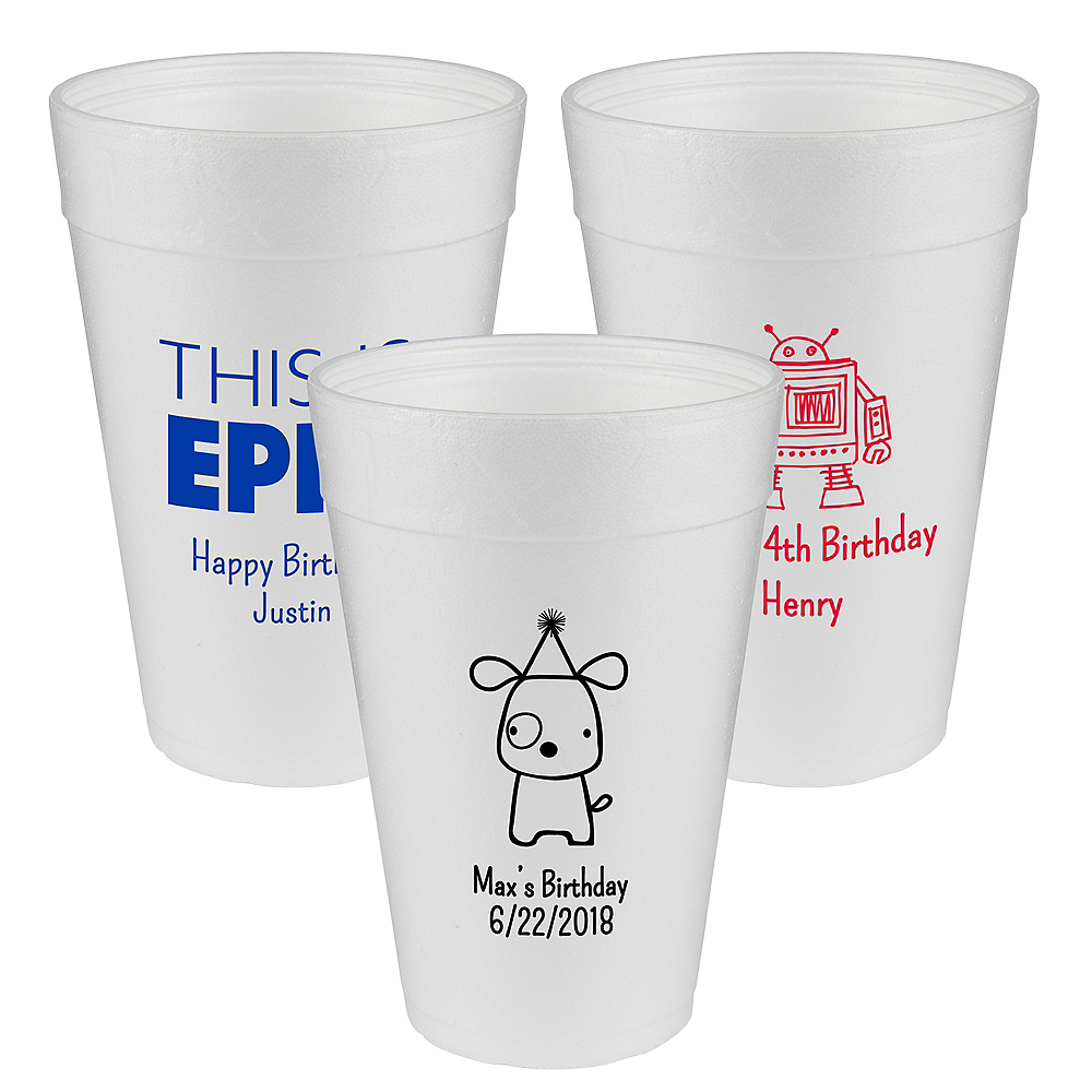 Personalized Boys Birthday Foam Cups 32oz Image #1