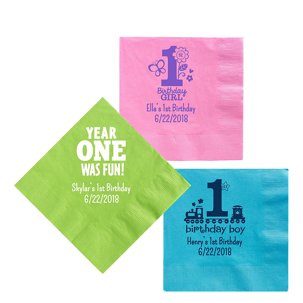 Personalized 1st Birthday Lunch Napkins Image #1