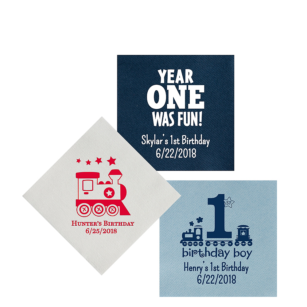 Personalized 1st Birthday Premium Beverage Napkins Image #1
