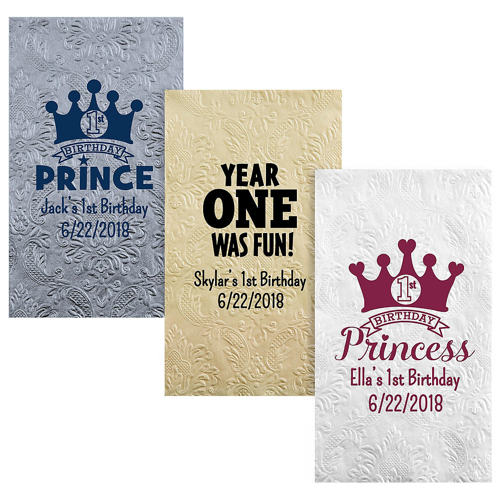 Personalized 1st Birthday Embossed Damask Guest Towels Image #1