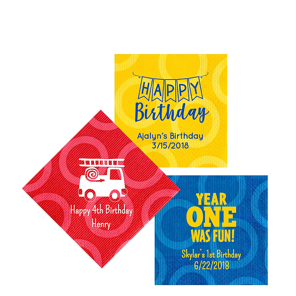Personalized 1st Birthday Circles Beverage Napkins Image #1